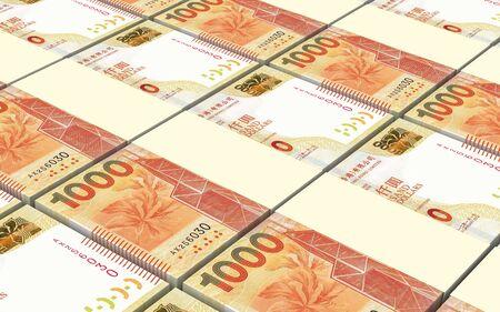 packaged: Hong Kong dollar bills stacked background. 3D illustration. Stock Photo