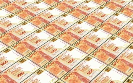 Hong Kong dollar bills stacked background. 3D illustration. Stock Photo