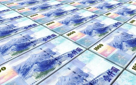 Taiwanese yuan bills stacked background. 3D illustration.