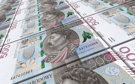 banknote: Polish zloty bills stacked background. 3D illustration. Stock Photo