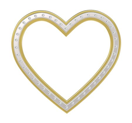 Silver-gold heart with diamonds picture frame isolated on white. 3D illustration. Stock Photo
