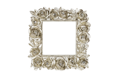 Champagne picture frame with rose decor, clipping path included. Stock Photo