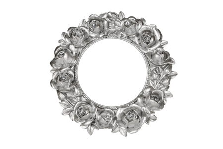 silver frame: Silver oval picture frame with rose decor, clipping path included.