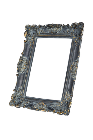 Black carved picture frame isolated over white with clipping path. Stock Photo
