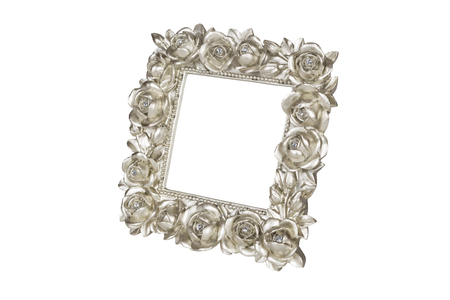 Champagne picture frame with rose decor, clipping path included. Reklamní fotografie