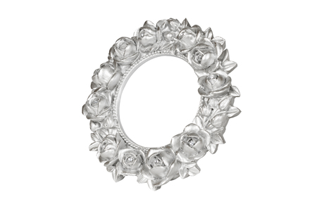 silver frame: Silver oval picture frame with rose decor Stock Photo