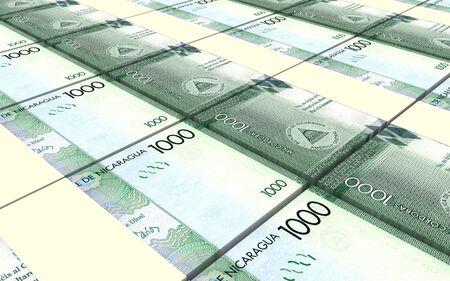 packaged: Nicaraguan cordoba bills stacks background. 3D illustration Stock Photo