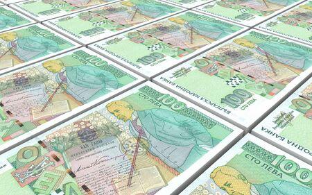 packaged: Bulgarian lev bills stacks background. 3D illustration.