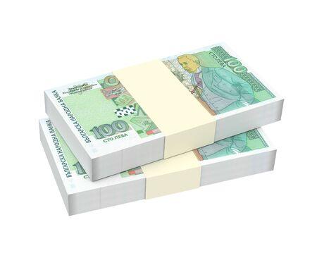 Bulgarian money isolated on white background. 3D illustration. Reklamní fotografie