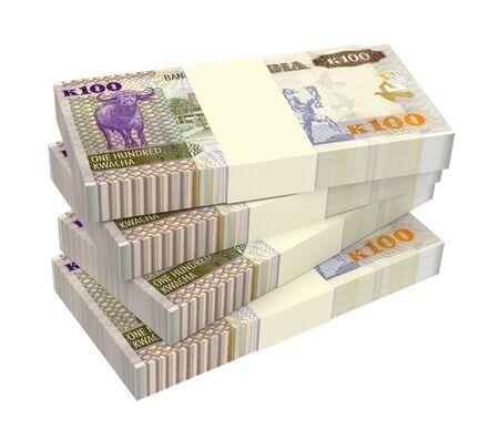 Zambian kwacha bills isolated on white background. 3D illustration.