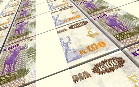 one hundred: Zambian kwacha bills stacks background. 3D illustration. Stock Photo