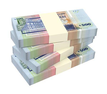 quantity: Uruguayan peso bills isolated on white background. 3D illustration. Stock Photo