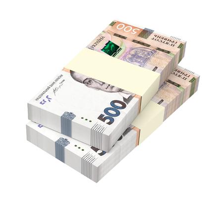 prespective: Ukrainian hryvnia new bills isolated on white background. 3D illustration.