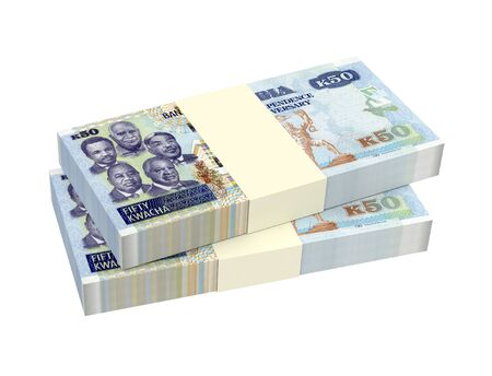 packaged: Zambian kwacha bills isolated on white background. 3D illustration.