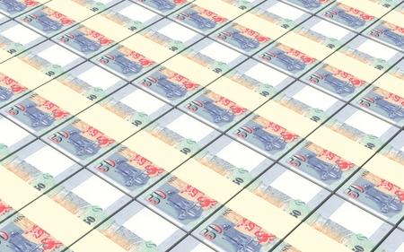 Singaporean stacks of dollar bills background. 3D illustration.