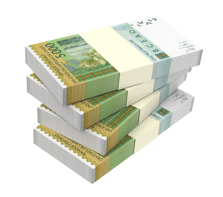 West African CFA franc bills isolated on white background. 3D illustration.