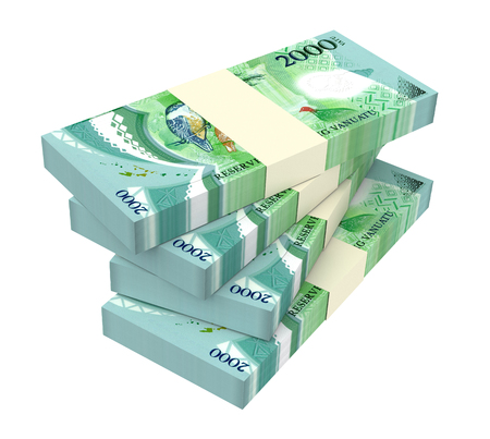 Vanuatu vatu bills isolated on white background. 3D illustration. Stock Photo