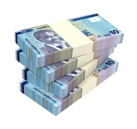papermoney: Namibian dollars bills isolated on white background. 3D illustration.
