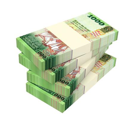 cash money: Sri Lankan bills isolated on white background. 3D illustration.