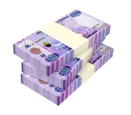 Rwandan francs bills isolated on white background. 3D illustration.