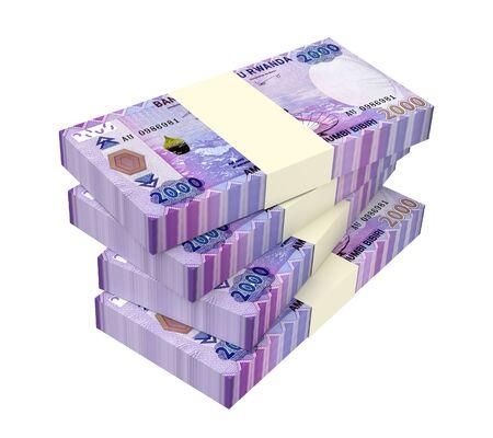cash money: Rwandan francs bills isolated on white background. 3D illustration.