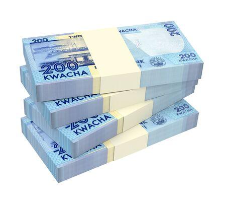 cash money: Malawi kwacha bills isolated on white background. 3D illustration.