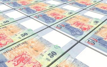 Singaporean dollar bills stacked background. 3D illustration. Stock Photo