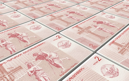 Nagorno Karabakh dram bills stacked background. 3D illustration. Stock Photo