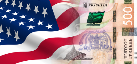 ukrainian flag: The concept of economic and political relationships with the United States Ukraine. 3D illustration