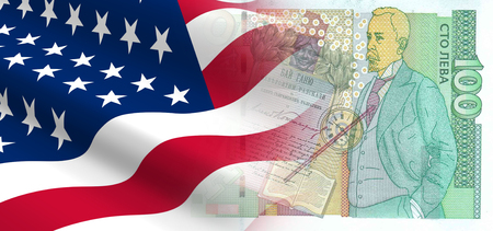 The concept of economic and political relationships with the United States in Bulgaria. 3D illustration.