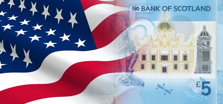 british money: The concept of economic and political relationships with the United States Scotland. 3D illustration.