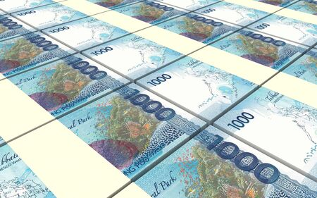 Philippines peso bills stacked background. 3D illustration.