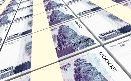 Cambodia riels bills stacked background. 3D illustration.