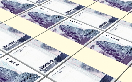 riel: Cambodia riels bills stacked background. 3D illustration.