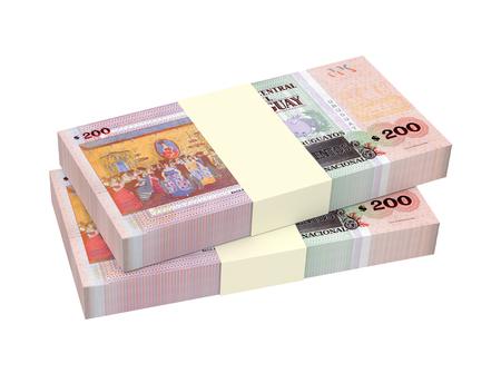 Uruguayan peso bills isolated on white background. 3D illustration. Stock Photo