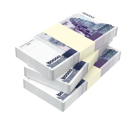 Cambodia riels bills isolated on white background. 3D illustration.