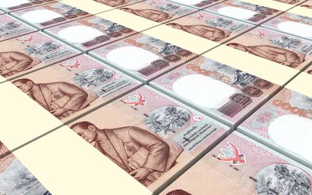 Thai baht bills stacked background. 3D illustration Stock Photo