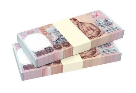 Les factures baht thaïlandaises isolées sur fond blanc. Illustration 3D. Banque d'images - 76947800
