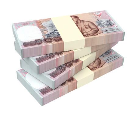 Thaise bahtbiljetten geïsoleerd op een witte achtergrond. 3D illustratie.