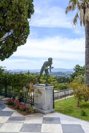 Statue of the Runner in Achilleion palace in Corfu, Corfu island in Greece. Achilleion was the palace of empress Elisabeth of Austria, also known as Sisi.