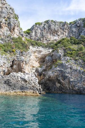paleokastritsa: View of the Ionian Sea in Paleokastritsa resort. Corfu Island, Greece