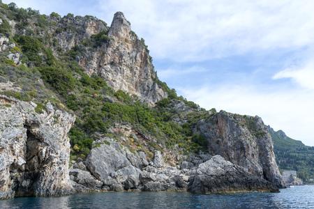 View of the Ionian Sea in Paleokastritsa resort. Corfu Island, Greece