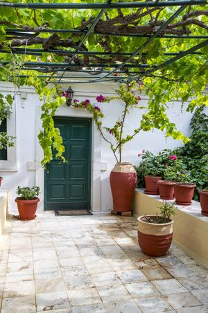 paleokastritsa: Green door in the Monastery of the Virgin Mary in Paleokastritsa, Corfu island in Greece.