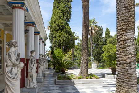 Achilleion palace on May 15, 2017 in Gastouri, Corfu island in Greece. Achilleion was the summer palace of empress Elisabeth of Austria, also known as Sisi.