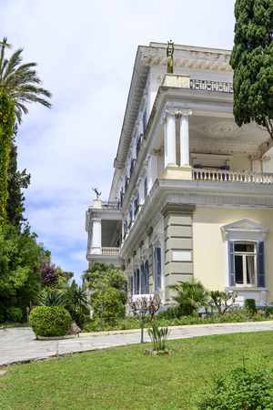 sissy: Achilleion palace in Gastouri on Corfu island, Greece. Achilleion was the summer palace of empress Elisabeth of Austria, also known as Sisi. Stock Photo