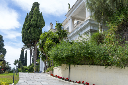 sissy: Achilleion palace in Gastouri on Corfu island, Greece. Achilleion was the summer palace of empress Elisabeth of Austria, also known as Sisi. Editorial