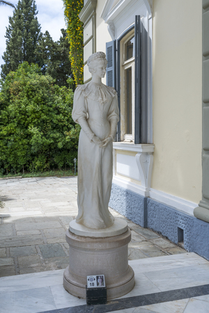 Statue of Sissi in Achilleion on May 15, 2017 in Gastouri, Corfu island in Greece. Achilleion was the palace of empress Elisabeth of Austria, also known as Sisi.