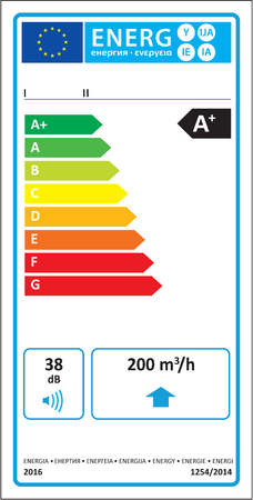 Unidirectional ventilation unit (UVU) new energy rating graph label in vector. Illustration