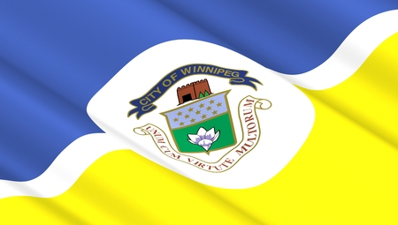 nationalism: Waving flag of Winnipeg city. 3D illustration.