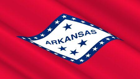 nationalism: Waving flag of Arkansas state. 3D illustration.